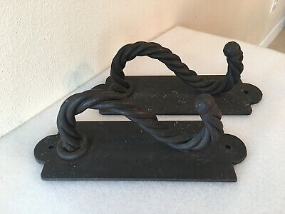 Antique Large Hand-Made Wrought Iron Door Pulls - Pair