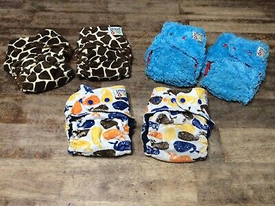 Goodmama One birth to toddler cloth fitted diapers one size with cover twin lot