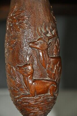 Large Antique Black Forest Carved Wood Huntung Smoking Pipe