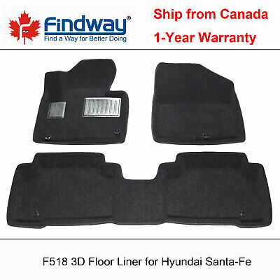 Black all Weather 3D Car Floor Mats / Liners for 2014-2019 Hyundai Santa-Fe XL