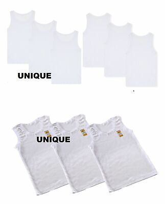 6 x Kids Boys Children girls White Vest Cotton Summer Tank Top School Wear 1-13