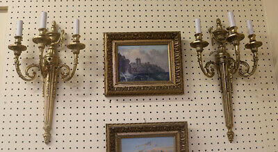 Gorgeous Pair Heavy Solid Brass French Empire Louis XVI Sconces
