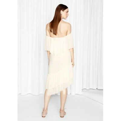 & Other Stories Asymmetrical Off-shoulder Dress Boho Ruffle H&M Group Off White