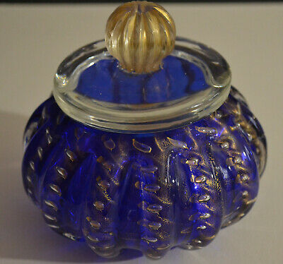 Murano Glass Cobalt Blue Aventurine Ribbed Candy Dish With Lid