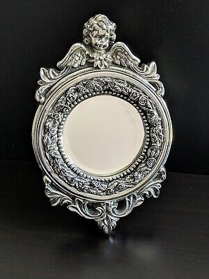 """Vintage Heavy! Well Cared For Cherub Powder Room Vanity Table/Wall Mirror 13"""" H"""