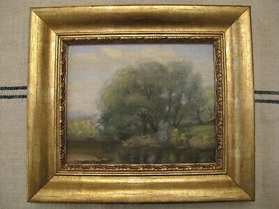 Landscape Impressionist Oil Painting - Trees Along a River