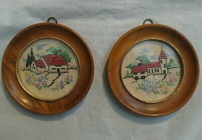 """ANTIQUE HANDMADE PETIT POINT ROUND FRAME PICTURES (4.5"""") Dated 1935"""