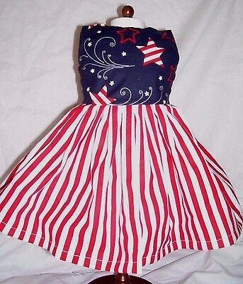 Dress fits 18 in American Girl Doll - Patriotic Red White & Blue Stars & Stripes