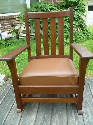 Antique Gustav Stickley Mission Oak Arts & Crafts rocker rocking Chair  LABEL