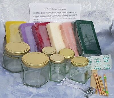 Candle Making Kit. 1.5kg Ready Coloured And Scented Wax, Jars And Wicks Included