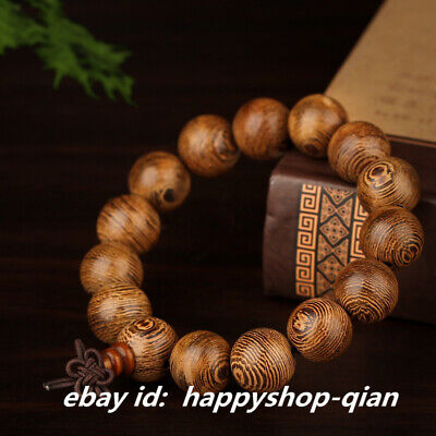 Fine Chinese Chicken Wing Wood HandCarved 15PCS 15MM Buddha Beads Men`s Bracelet