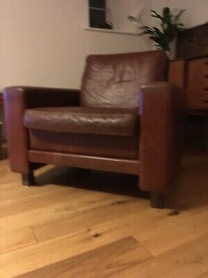 Mid Century Danish Brown Leather Arm Chair