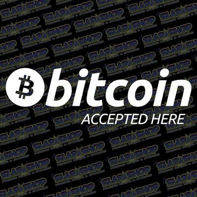 """Bitcoin Accepted Here Cryptos Decal Sticker Business Car Truck 8"""" Free Shipping"""