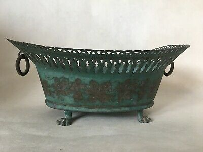 Antique French Tole Turquoise Reticulated Cachepot Cache Pot Planter