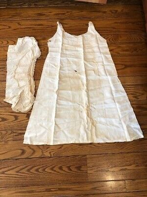 Linens & Textiles (pre-1930) Lace, Crochet & Doilies Old Victorian Cotton Nightdress Lace Bodice Top 4 Remnants Refurbish Trim Craft Cheap Sales