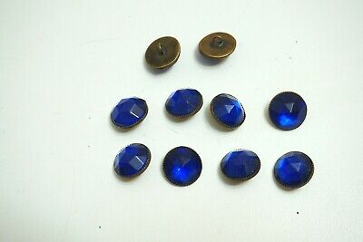 """Lot Of 10 Vintage Glass On Brass Buttons Large Blue Jewel On Front 1/2"""" Across"""