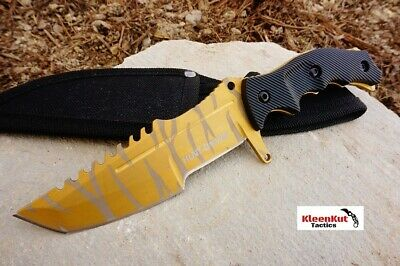 NEW MINI Tiger Gold CSGO Huntsman Fixed Blade Hunting Knife Bowie Survival CS:GO