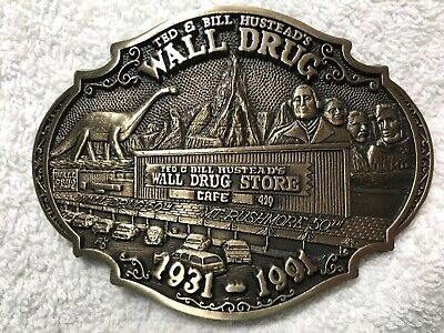 Ted & Bill HUSTEAD'S WALL DRUG 1931-1991 SOLID BRASS BELT BUCKLE