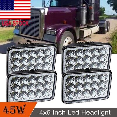 4X LED HEADLIGHTS For Freightliner FLD120 FLD112 4x6'' Light