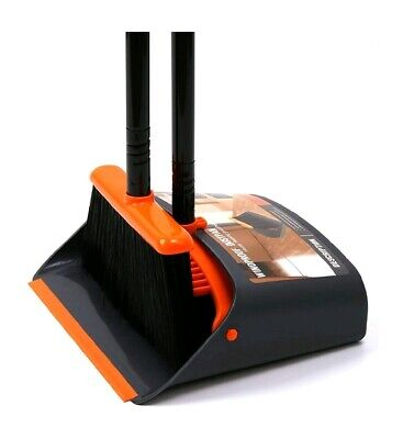 Dust Pan & Broom Combo Handle Upright Stand Up Broom and Dustpan Holder Set New
