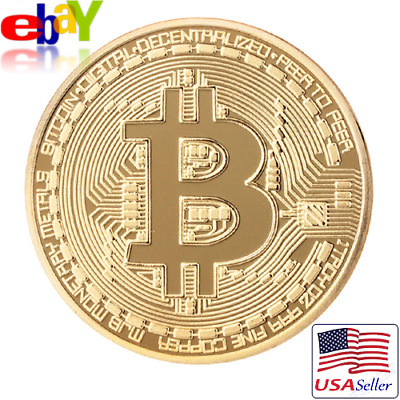 BITCOIN BTC XBT Gold Plated Commemorative Physical Cryptocurrency Coin + Case