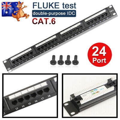 "19"" Inch 24 Port CAT6 Patch Panel 1U/1RU Height Rack Patch Panel Cable Frame"