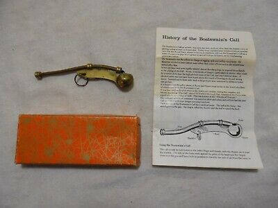 Vintage Boatswain's Call Whistle w/ Instructions & Box