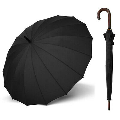 Doppler London 16 Rib Wood Umbrella Black