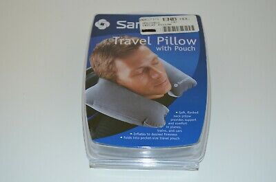Samsonite Charcoal Gray Inflatable Soft Flocked Neck Pillow with Storage Pouch