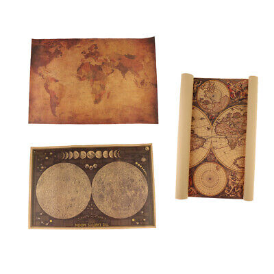 3Pcs Old World Map Wall Hanging, Map Ancient Treasure Map for Home