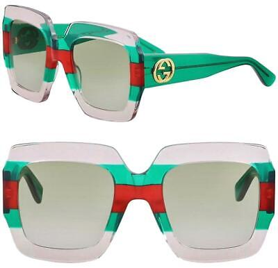 5c2b445eeba AUTHENTIC GUCCI GG0178S 007 Transparent Green Red Squared Multicolor ...