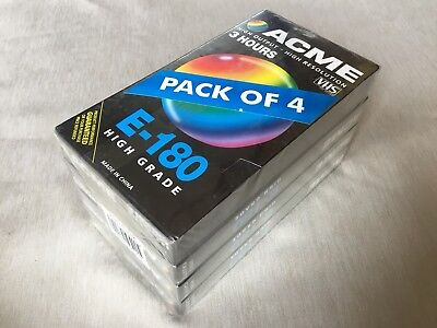 ACME E-180 High Grade Blank VHS Video Tapes x4 Sealed
