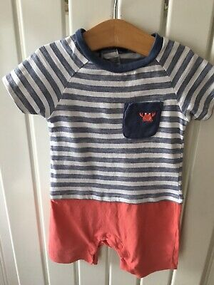 Baby Boy's Clothes 9-12 Months -cute Striped Crab Motif One-Piece Outfit 🦀🦀🦀