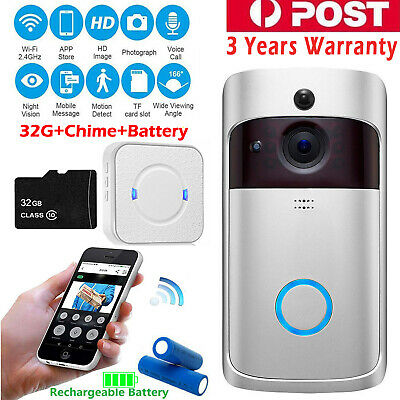 Wireless Video Doorbell Camera Wifi Smart Ring Security Door Phone Intercom AU