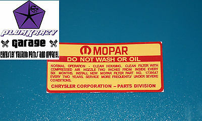 CHRYSLER VALIANT  DO NOT WASH  AIR CLEANER DECAL SUITS AP6 VE VC 273 225 slant