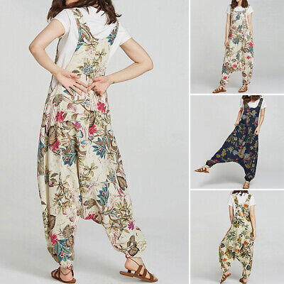 ZANZEA 8-24 Women Bib Trousers Zip Up Floral Overall Playsuit Romper Jumpsuit