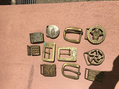 Lot of 10 Brass Belt Buckles from 1960