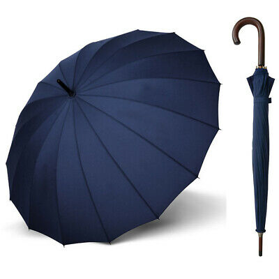 Doppler London 16 Rib Wood Umbrella Navy