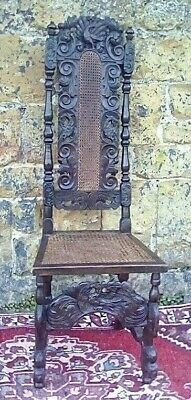 Beautiful Original Antique Tudor Carved Oak High Back Chair, (1680's)