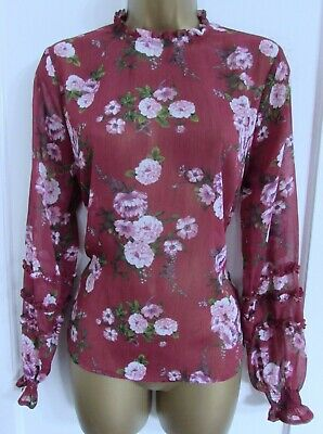 42d883d094c8fd Primark Ladies Pink White Green Floral Long Sleeved High Neck Blouse Top  Size 14