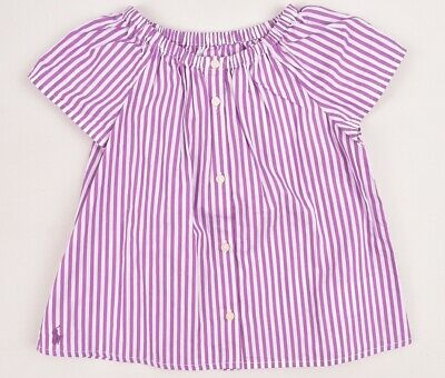 RALPH LAUREN Baby Girls' Striped Summer Top, Purple/White, sizes 12 24 months