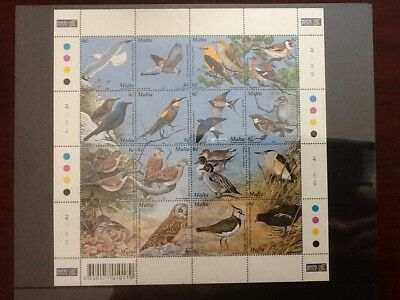 2001 MALTA Maltese Birds Mini Sheet Complete Set SG 1214/29 Unmounted Mint NH VF