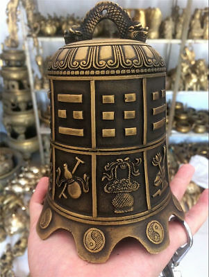 China Tibetan Buddhist Collection Brass Murals Carved Dragon Statue Bell