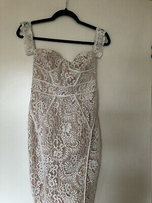 3f9cbbf0403 pretty little thing 8 Zeenia White Premium Lace Bandeau Midi Dress Stunning