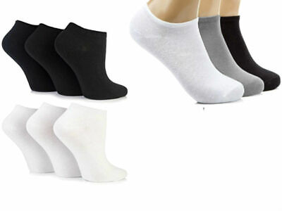 3 x Pairs Mens Girls Trainer Liner Ankle Cotton Rich Sport Socks Plain Gym White
