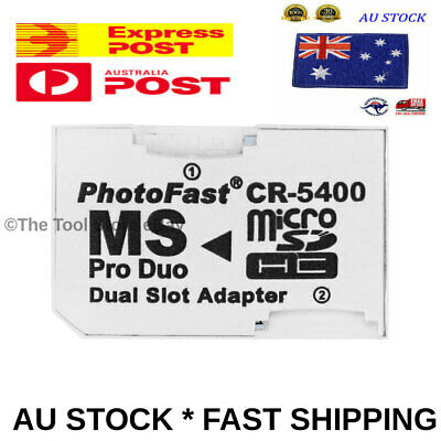 Micro SD SDHC TF to Memory Stick MS Pro Duo Reader PSP Adapter DUAL SLOT VERSION