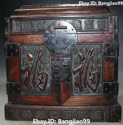 "11""Chinese Red Sandalwood Wood Handwork Carving Jewel Jewelry Box Cabinet Statue"