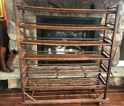 19Th C American Antique Oak Industrial Shoe Rack Wheels With Six Tiers Amazing!
