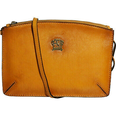 New Pratesi Firenze Antique Cognac Italian Leather Women's Crossbody Bag
