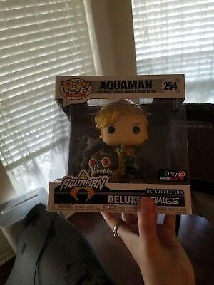 ON HAND Funko POP Deluxe EXCLUSIVE Aquaman #254 Jim Lee DC Comics Vinyl Figure